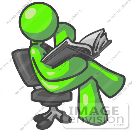 #36678 Clip Art Graphic of a Lime Green Guy Character Reading in a Chair by Jester Arts