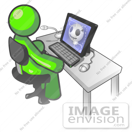 #36687 Clip Art Graphic of a Lime Green Guy Character Using a Computer by Jester Arts