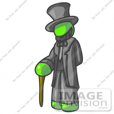#36688 Clip Art Graphic of a Lime Green Guy Character as Abraham Lincoln by Jester Arts