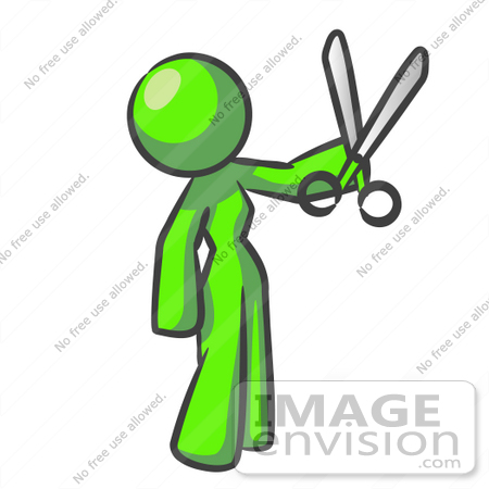 #36705 Clip Art Graphic of a Lime Green Lady Character Holding Scissors by Jester Arts