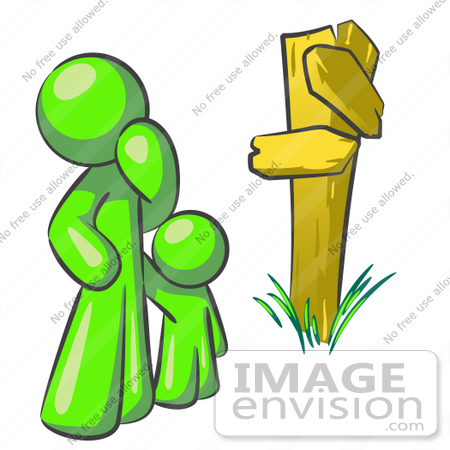 #36713 Clip Art Graphic of a Lime Green Guy Character and Child at a Crossroads by Jester Arts