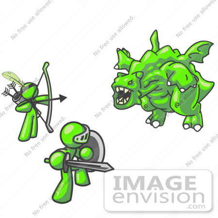 #36726 Clip Art Graphic of Lime Green Guy Characters Fighting a Dragon by Jester Arts
