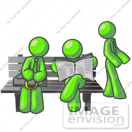#36728 Clip Art Graphic of Lime Green Guy Characters Waiting at a Bus Stop by Jester Arts