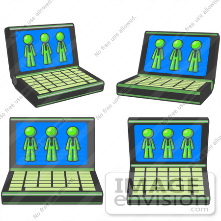#36729 Clip Art Graphic of Lime Green Guy Characters on Laptop Computer Screens by Jester Arts