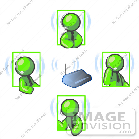 #36735 Clip Art Graphic of Lime Green Guy Characters on Headsets, Having a Meeting by Jester Arts