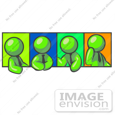 #36736 Clip Art Graphic of Lime Green Guy Characters Discussing in a Meeting by Jester Arts
