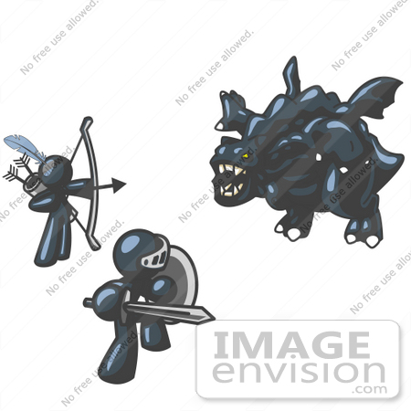 #36747 Clip Art Graphic of Dark Blue Guy Characters Fighting a Dragon by Jester Arts