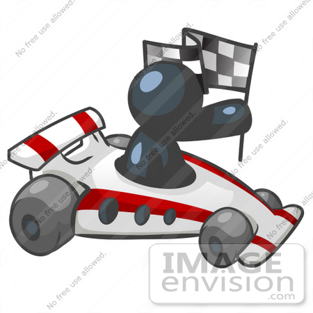 #36785 Clip Art Graphic of a Dark Blue Guy Character Driving a Race Car by Jester Arts
