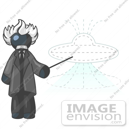 #36828 Clip Art Graphic of a Dark Blue Guy Character as Albert Einstein, Pointing to a UFO by Jester Arts