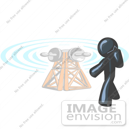 #36838 Clip Art Graphic of a Dark Blue Guy Character by a Tower, Using a Cell Phone by Jester Arts