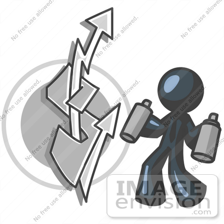 #36842 Clip Art Graphic of a Dark Blue Guy Character Spray Painting by Jester Arts