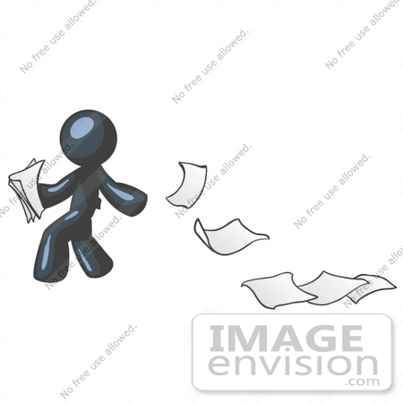 #36854 Clip Art Graphic of a Dark Blue Guy Character Dropping Papers by Jester Arts