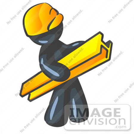 #36855 Clip Art Graphic of a Dark Blue Guy Character Carrying a Beam by Jester Arts