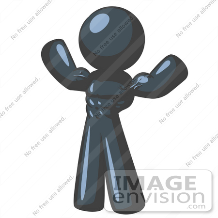 #36871 Clip Art Graphic of a Dark Blue Guy Character Flexing His Muscles by Jester Arts