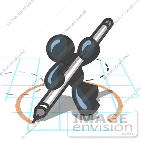 #36874 Clip Art Graphic of a Dark Blue Guy Character Drawing a Circle on Graph Paper by Jester Arts