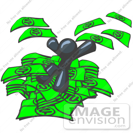 #36877 Clip Art Graphic of a Dark Blue Guy Character Jumping in a Pile of Money by Jester Arts