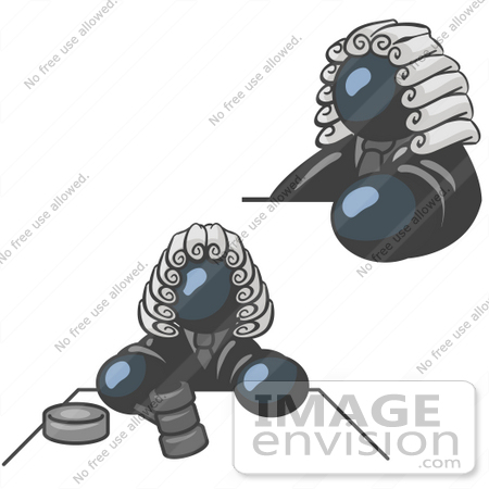 #36890 Clip Art Graphic of a Dark Blue Guy Character Judge by Jester Arts
