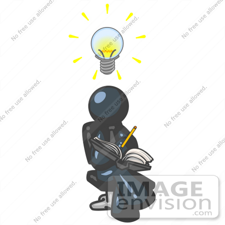 #36910 Clip Art Graphic of a Dark Blue Guy Character Jotting His Ideas Down by Jester Arts