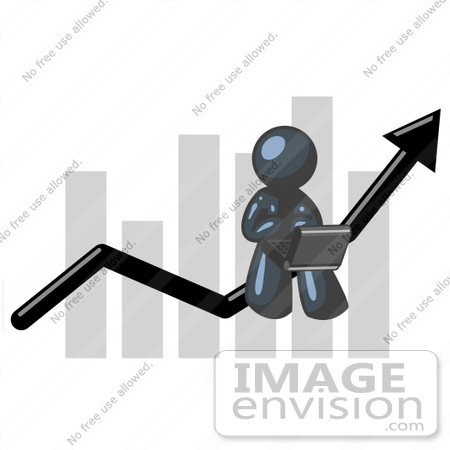 #36923 Clip Art Graphic of a Dark Blue Guy Character Using a Laptop on a Bar Graph by Jester Arts