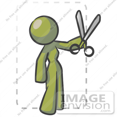 #36987 Clip Art Graphic of an Olive Green Lady Character Cutting Coupons by Jester Arts