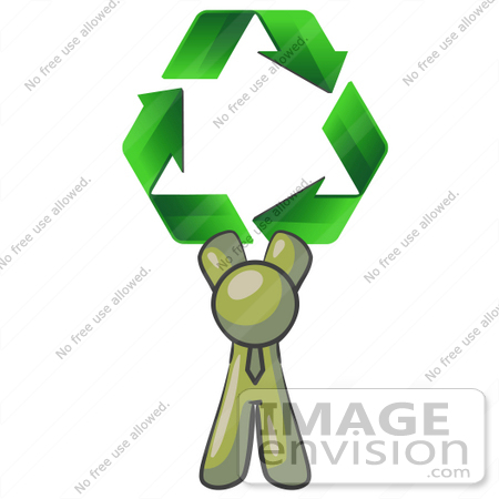 #37011 Clip Art Graphic of an Olive Green Guy Character Holding Recycle Arrows by Jester Arts