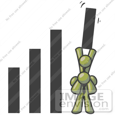 #37012 Clip Art Graphic of Olive Green Guy Characters in a Bar Graph by Jester Arts