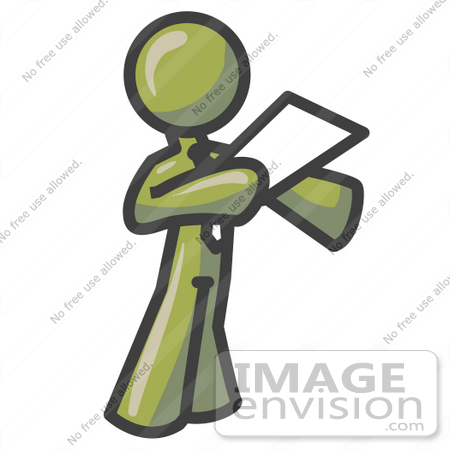 #37014 Clip Art Graphic of an Olive Green Guy Character Giving a Speech by Jester Arts