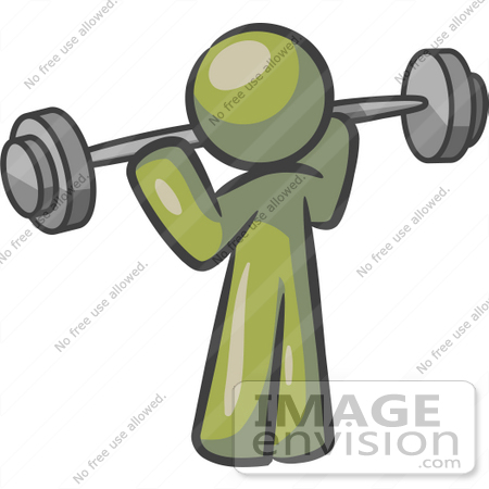 #37024 Clip Art Graphic of an Olive Green Guy Character Working Out With a Barbell by Jester Arts