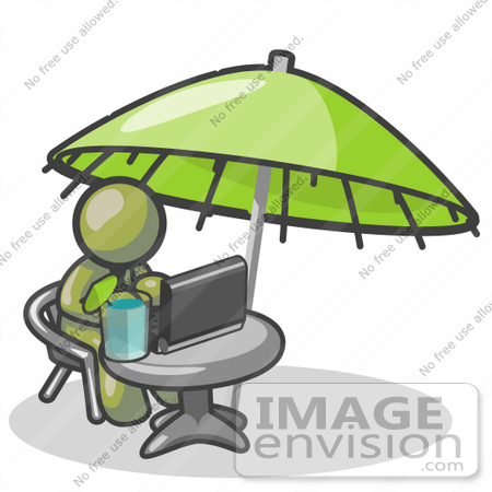 #37030 Clip Art Graphic of an Olive Green Guy Character Working on a Laptop Under an Umbrella by Jester Arts