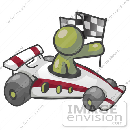 Auto Racing Clipart Graphics on 37031 Clip Art Graphic Of An Olive Green Guy Character Racing A Race