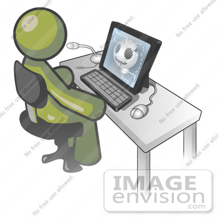 #37033 Clip Art Graphic of an Olive Green Guy Character Using a Computer by Jester Arts