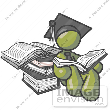 #37034 Clip Art Graphic of an Olive Green Guy Character Graduate Reading Books by Jester Arts