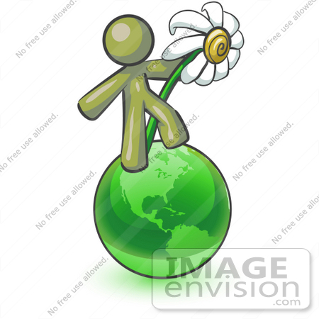 #37053 Clip Art Graphic of an Olive Green Guy Character on a Globe With a Daisy by Jester Arts