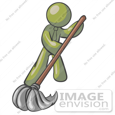 #37061 Clip Art Graphic of an Olive Green Guy Character Mopping by Jester Arts