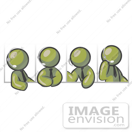 #37144 Clip Art Graphic of Olive Green Guy Characters in Different Poses, Talking on Headsets by Jester Arts