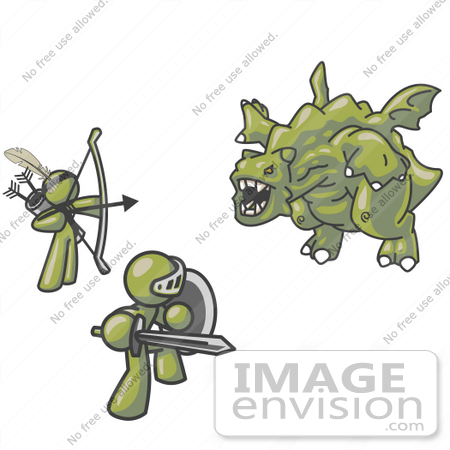 #37148 Clip Art Graphic of Olive Green Guy Characters Fighting a Dragon by Jester Arts