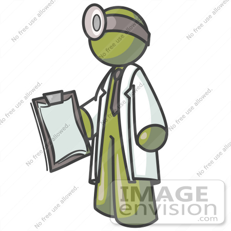 #37165 Clip Art Graphic of an Olive Green Guy Character Doctor With a Head Lamp by Jester Arts
