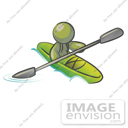 #37167 Clip Art Graphic of an Olive Green Guy Character Kayaking by Jester Arts