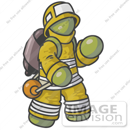 #37171 Clip Art Graphic of an Olive Green Guy Character Fireman by Jester Arts