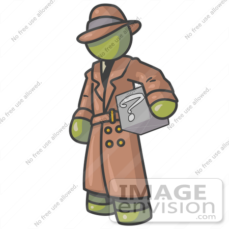 #37187 Clip Art Graphic of an Olive Green Guy Character Investigator Carrying a Box of Questions by Jester Arts