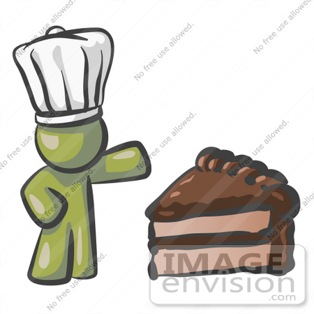 #37188 Clip Art Graphic of an Olive Green Guy Character Chef With Chocolate Cake by Jester Arts