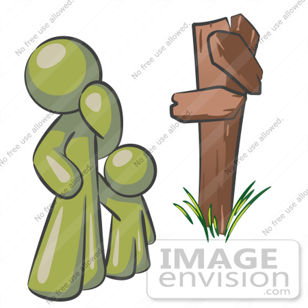 #37196 Clip Art Graphic of an Olive Green Guy Character and Child at a Crossroads by Jester Arts