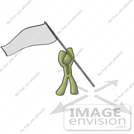 #37199 Clip Art Graphic of an Olive Green Guy Character Claiming Territory by Jester Arts