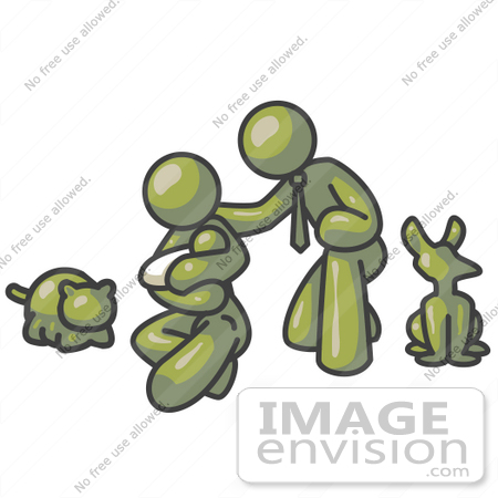 #37208 Clip Art Graphic of an Olive Green Guy Character Family With a Baby and Pets by Jester Arts