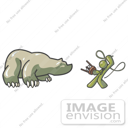 #37210 Clip Art Graphic of an Olive Green Guy Character Taming a Bear by Jester Arts