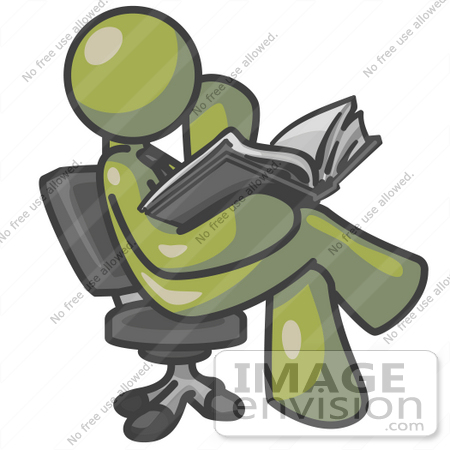 #37217 Clip Art Graphic of an Olive Green Guy Character Sitting and Reading by Jester Arts
