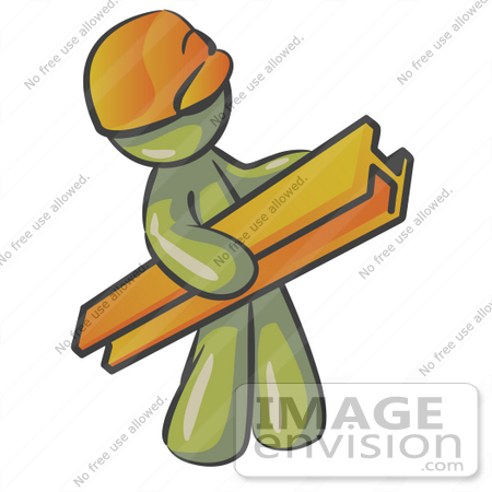 #37221 Clip Art Graphic of an Olive Green Guy Character Carrying a Beam by Jester Arts