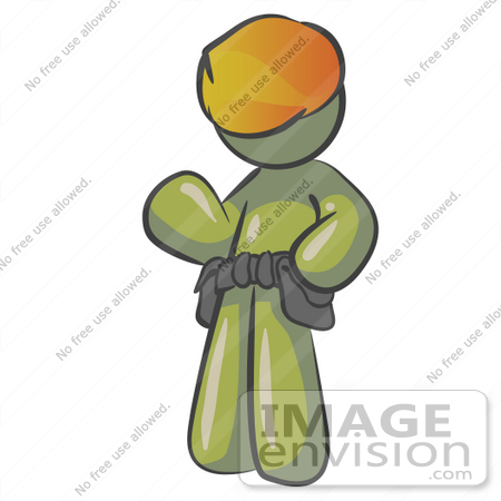 #37223 Clip Art Graphic of an Olive Green Guy Character Wearing a Hardhat and Tool Belt by Jester Arts