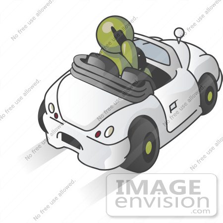 #37226 Clip Art Graphic of an Olive Green Guy Character Talking on a Phone and Driving by Jester Arts