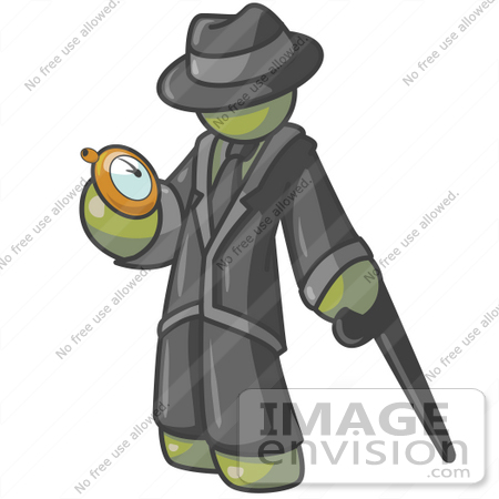 #37227 Clip Art Graphic of an Olive Green Guy Character Checking a Pocket Watch by Jester Arts